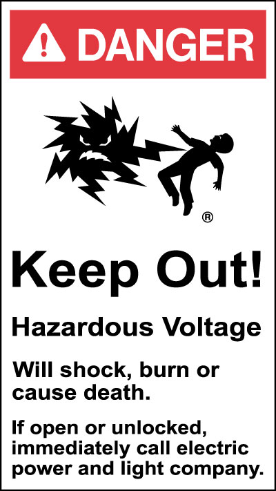 Electrical Safety Sign Danger Keep Out Hazardous