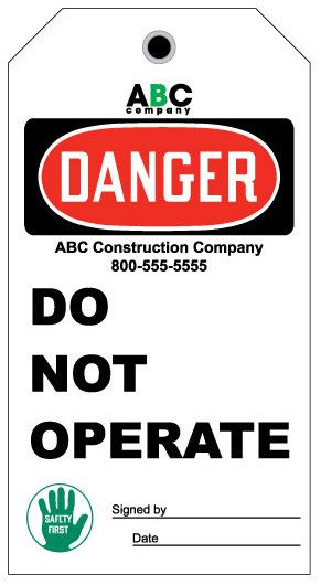 Stonehouse Signs Custom Danger Do Not Operate Tag