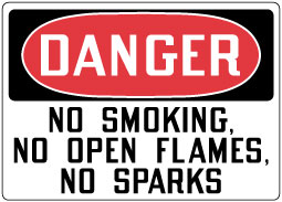 Stonehouse Signs OSHA Sign Danger No Smoking, No Open Flames, No Sparks