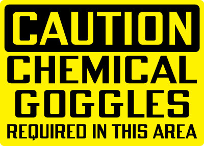 Stonehouse Signs Caution Chemical Goggles Required In This Area Sign