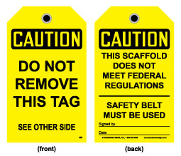 Stonehouse Signs Caution Scaffold Does Not Meet Federal Regulations Tag
