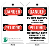 Stonehouse Signs Lockout/Tagout Bilingual Tag Danger Do Not Remove This Tag