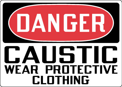 Stonehouse Signs Danger Caustic Wear Protective Clothing Sign