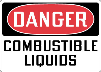 Stonehouse Signs Danger Combustible Liquids Sign