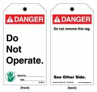 Stonehouse Signs ANSI Danger Do Not Operate Tag