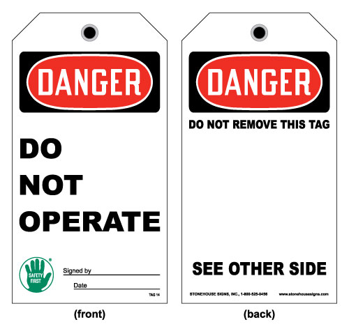 Stonehouse Signs OSHA Danger Do Not Operate Tag