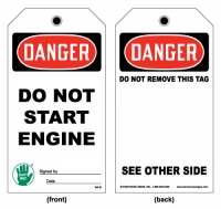 Stonehouse Signs Lockout/Tagout Do Not Start Engine Tag