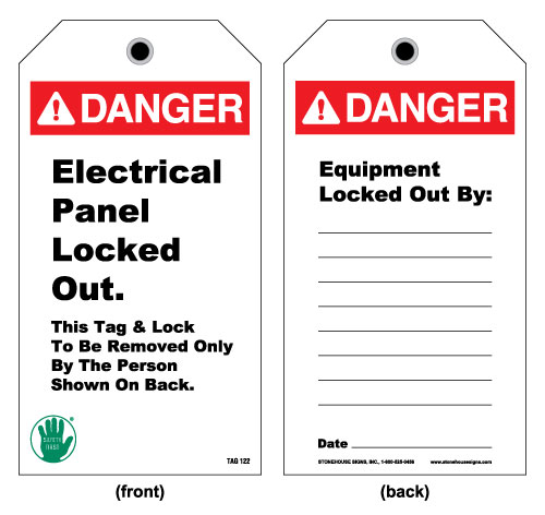 Lockout and electrical tag front danger electrical for Electrical panel tags
