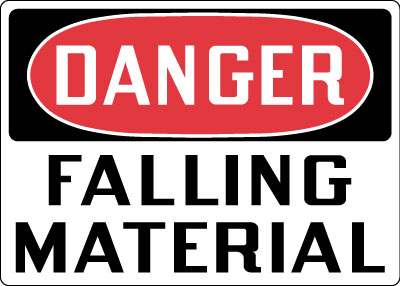Stonehouse Signs Danger Falling Material Sign