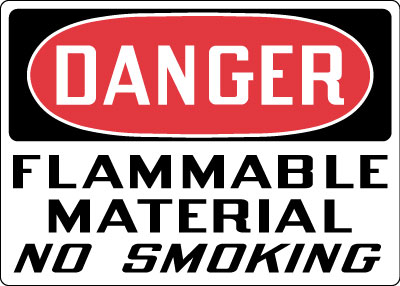 Danger Flammable Material No Smoking Top OSHA Messages