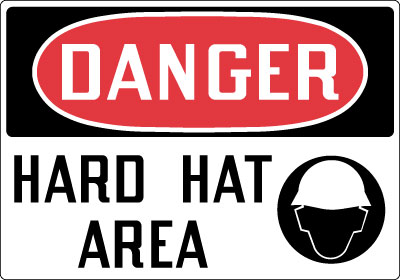 Danger Hard Hat Area OSHA Construction Safety Signs