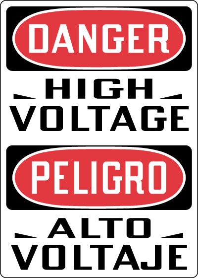 Stonehouse Signs Danger High Voltage Spanish Sign