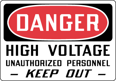 Stonehouse Signs Danger High Voltage Unauthorized Personnel Keep Out Sign
