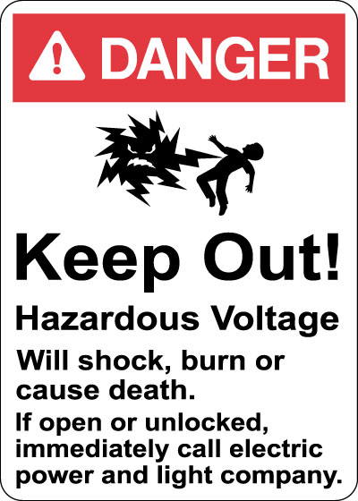Stonehouse Signs Danger Keep Out Hazardous Voltage Sign