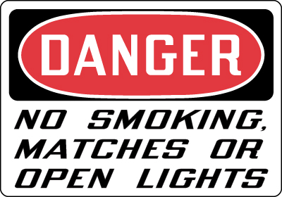 Stonehouse Signs Danger No Smoking Matches Or Open Lights Sign