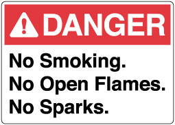 Stonehouse Signs ANSI Sign Danger No Smoking, No Open Flames, No Sparks