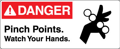 Equipment And Operational Sign Danger Pinch Points