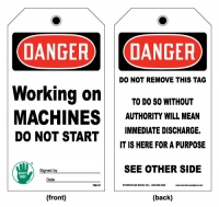 Stonehouse Signs Lockout/Tagout Working on Machines Do Not Start Tag