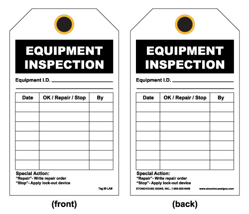 Equipment Inspection Tag Front Equipment Inspection Id