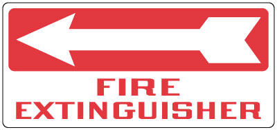 Fire Safety Sign Fire Extinguisher Left Arrow