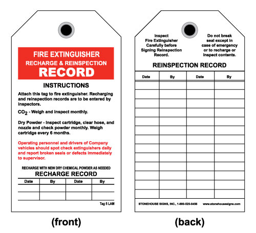 Fire Extinguisher Inspection Tag Front Fire Extinguisher