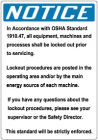 Stonehouse Signs Lockout/Tagout Lockout Prior to ServicingSign