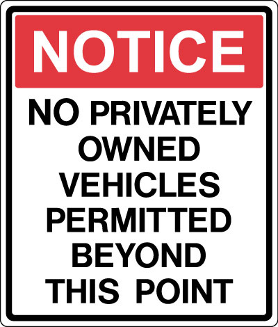 Stonehouse Signs No Privately Owned Vehicles Military Signs and Perimeter Signs