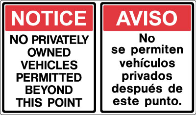 Stonehouse Signs  Bilingual No Privately Owned VehiclesSigns,  Military Signs and Perimeter Signs