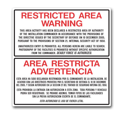 Stonehouse Signs Restricted Area Bilingual Military Perimiter Signs