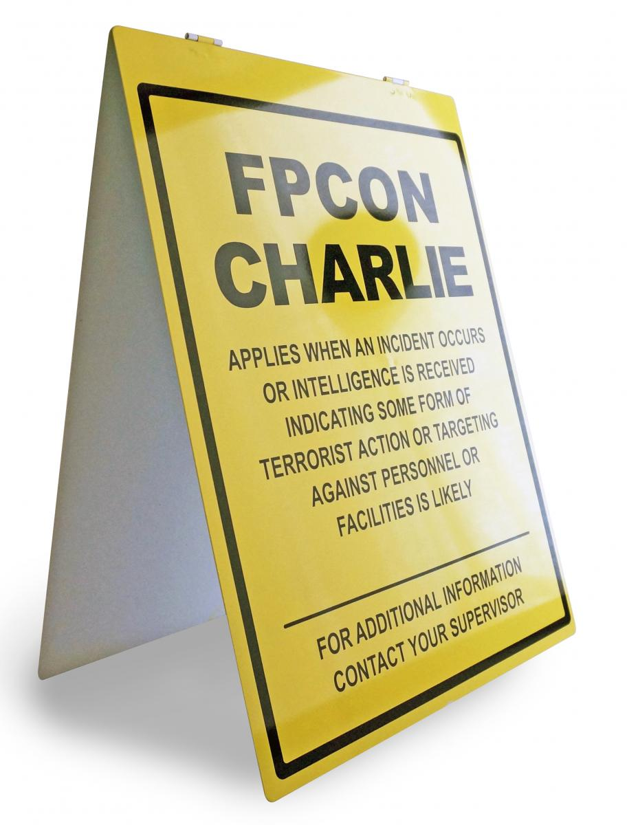 Stonehouse Signs Custom Metal A Frame FPCON Signs