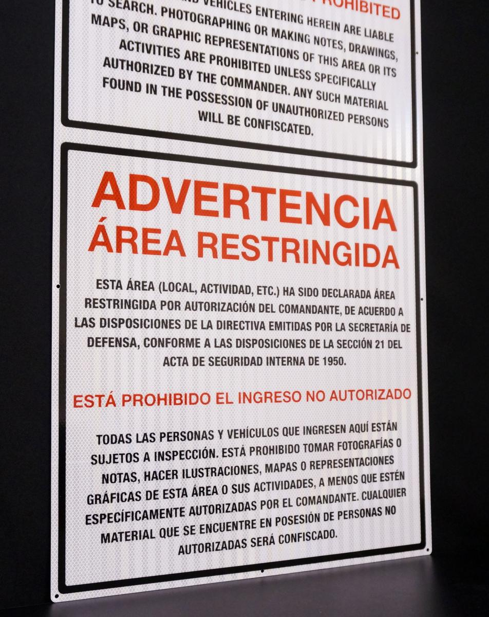Stonehouse Signs Custom Military Bilingual Restricted Area Sign