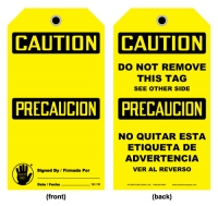 Pipe line stonehouse signs stonehouse signs caution tag bilingual english spanish the lowest tag hazard level is publicscrutiny Images