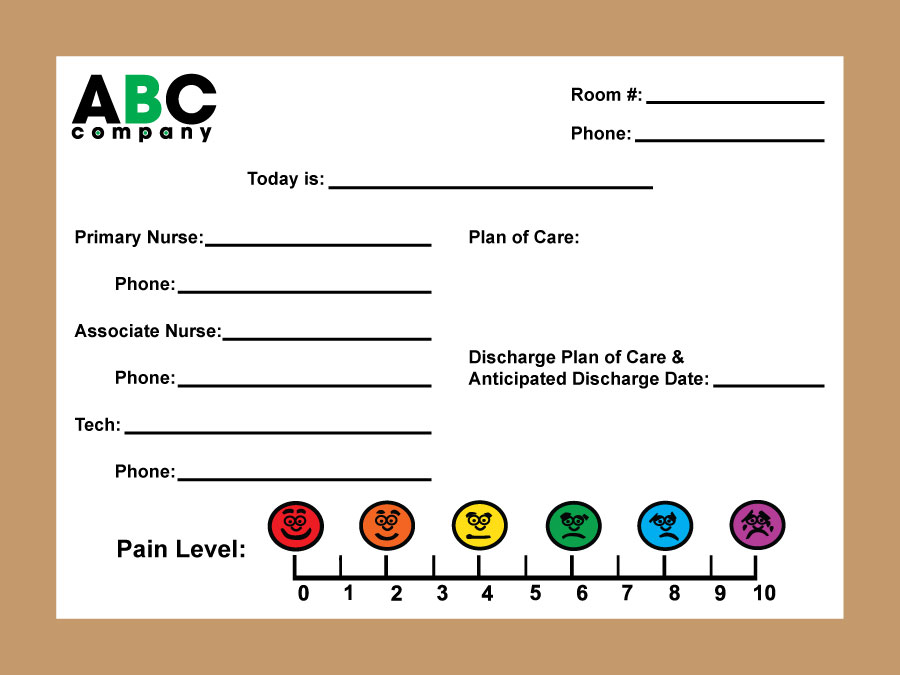 Stonehouse Signs Patient Room Dry Erase Board with Pain Scale