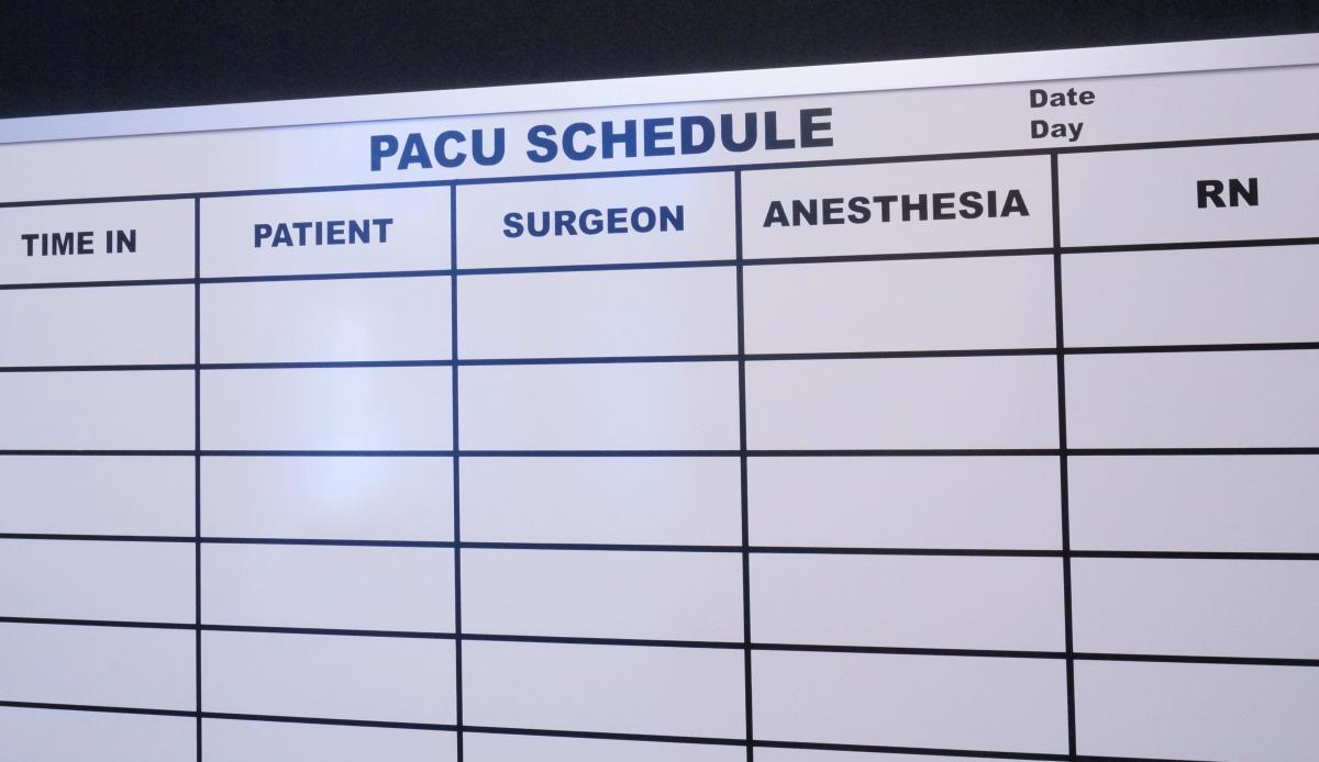 Stonehouse Signs Custom Magnetic PACU Schedule White Board
