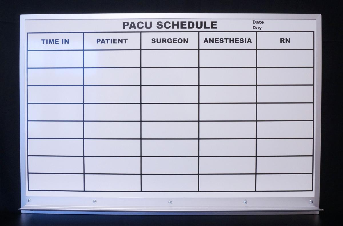 Stonehouse Signs Custom Magnetic Dry Erase Board PACU Scheduling