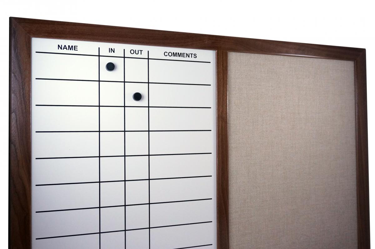 Stonehouse Signs Custom Magnetic In-Out Board with Fabric Pin Board