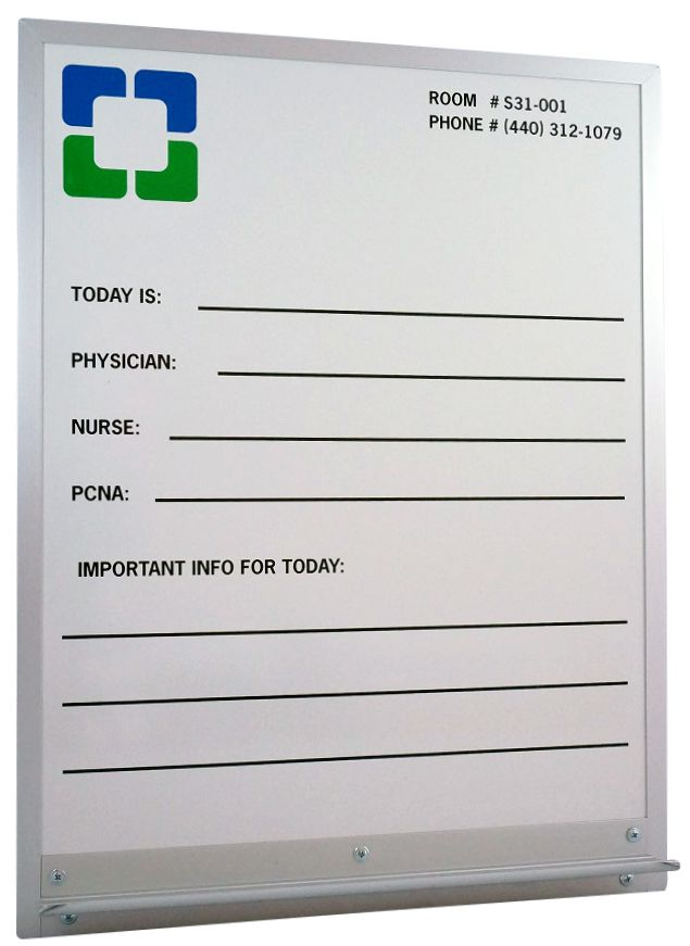 Stonehouse signs Custom Patient Room Communication White Board