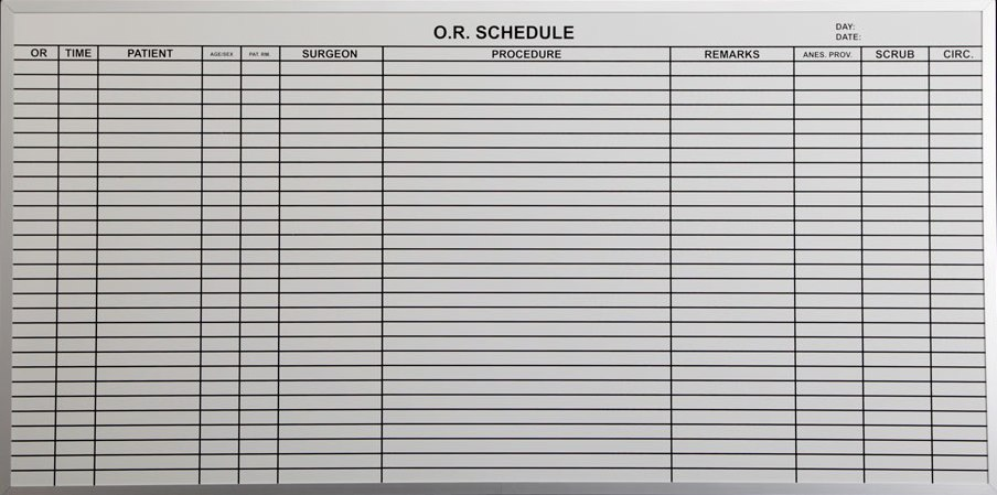 Stonehouse Signs Custom Magnetic  OR Patient Scheduling Dry Erase Board