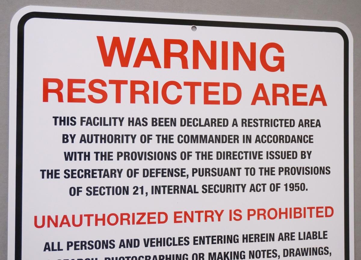 Stonehouse Signs Custom Warning Restricted Area Military Perimeter Signs