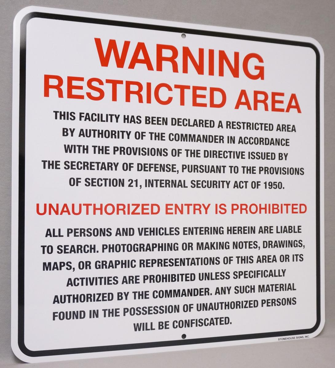 Stonehouse Signs Custom Restricted Area Perimeter Signs