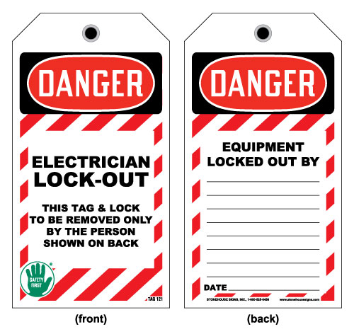Stonehouse Signs Lockout Tag Danger Electrician Lock-Out OSHA