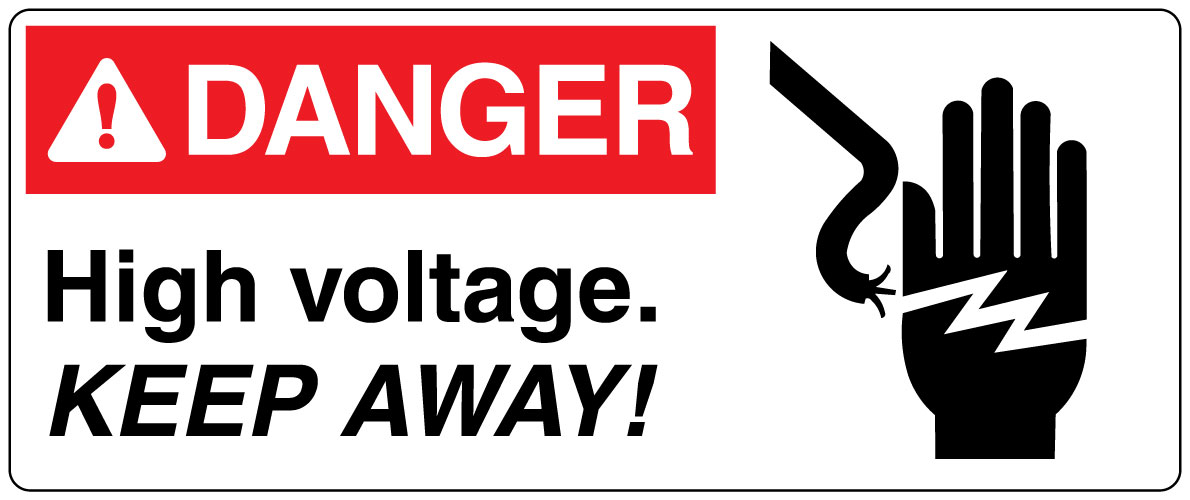 Electrical Safety Sign Danger High Voltage Keep Away With Symbol