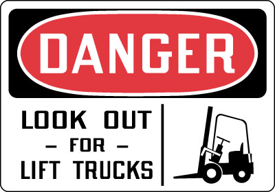 Stonehouse Signs Watch For Lift Trucks Sign