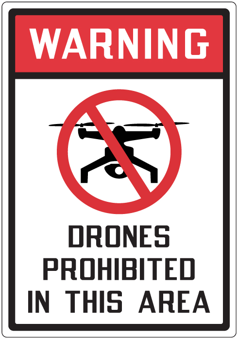 Caution Drones may be operating in this area Safety sign