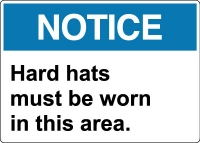 Stonehouse Signs Face-Head PPE Signs Notice Hard Hats Must Be Worn In This Area