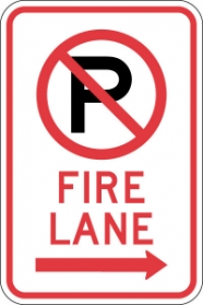 Stonehouse Signs No Parking Fire Lane Sign with No Parking Symbol and Right Arrow