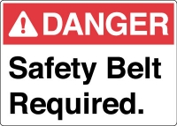 Stonehouse Signs Lifeline-Safety Belt PPE Signs Danger Safety Belt Required