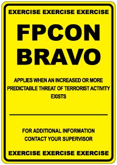 Stonehouse Signs Military FPCON Exercise Sign BRAVO Yellow