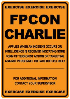 Stonehouse Signs FPCON Signs FPCON Charlie Exercise Sign