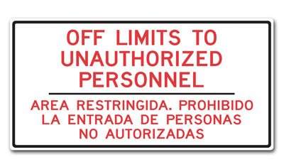 Stonehouse Signs Military Signs Unauthorized Personnel Only Bilingual Sign